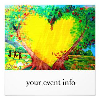 invitación amarilla del corazón