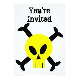 Invitación amarilla del cráneo y de la bandera