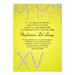 invitación amarilla del cumpleaños de Quinceanera Invitación 12,7 X 17,8 Cm