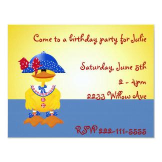 Invitación amarilla del cumpleaños del pato