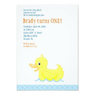 Invitación amarilla del cumpleaños del pato 5x7