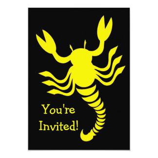 Invitación amarilla del escorpión invitación 12,7 x 17,8 cm