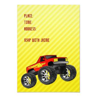 Invitación amarilla del monster truck invitación 12,7 x 17,8 cm