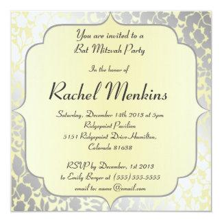 Invitación amarilla metálica formal de Mitzvah del Invitación 13,3 Cm X 13,3cm
