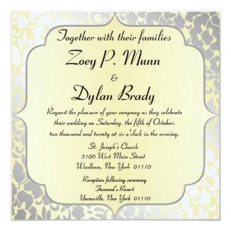 Invitación amarilla metálica formal del boda