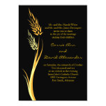 Invitación amarilla negra del boda del trigo del invitación 12,7 x 17,8 cm
