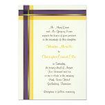 Invitación amarilla púrpura y de oro del boda de