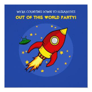 Invitación amarilla roja del cumpleaños de Rocket