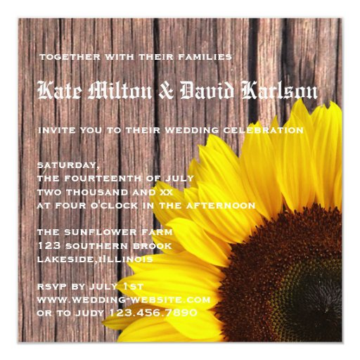 Invitación amarilla rústica del boda del país del