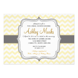 Invitación amarilla y gris de Chevron
