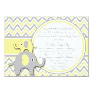 Invitación amarilla y gris de la fiesta de