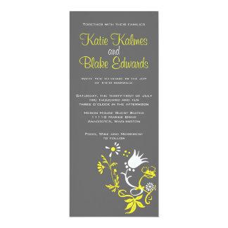 Invitación amarilla y gris del boda