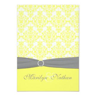 Invitación amarilla y gris del boda del damasco
