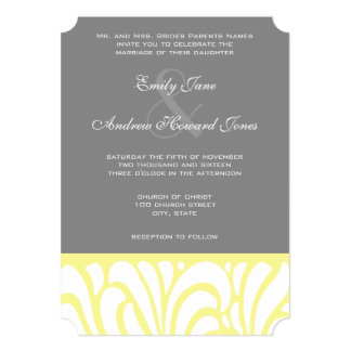 Invitación amarilla y gris del boda del modelo del