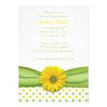 Invitación amarilla y verde de la fiesta de bienve