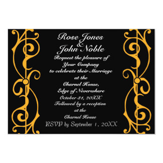 Invitación (ambarina) del boda del ébano de la