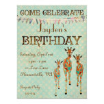 Invitación ambarina y azul del cumpleaños de las