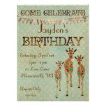 Invitación ambarina y azul del cumpleaños de las j