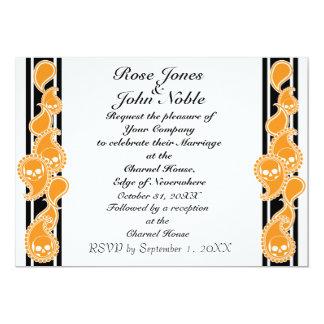 Invitación (anaranjada) anversa del boda