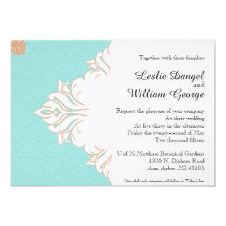 Invitación anaranjada azul del boda del damasco