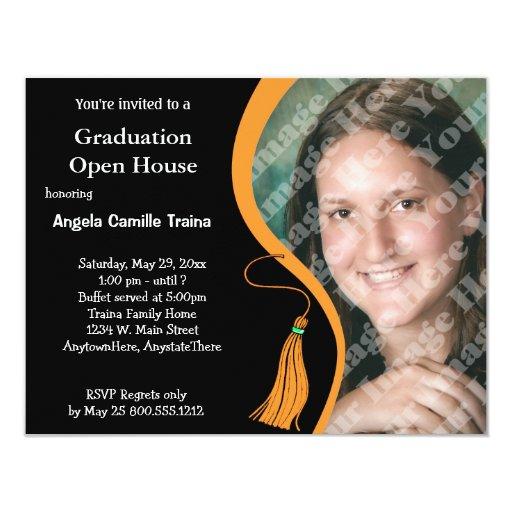 Invitación anaranjada de la casa abierta de la