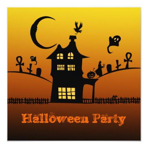 Invitación anaranjada de la casa de Halloween