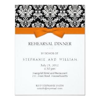 Invitación anaranjada de la cena del ensayo del