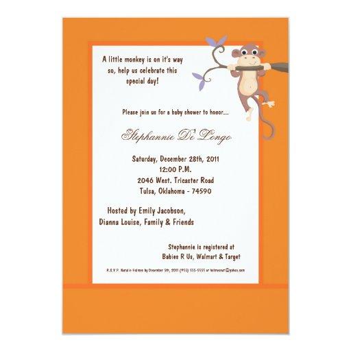 invitación anaranjada de la fiesta de bienvenida