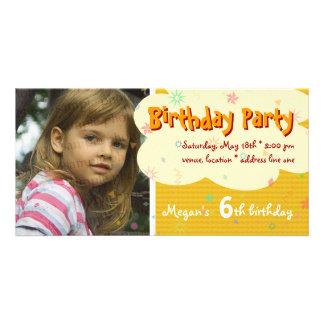 Invitación anaranjada de la foto de la fiesta del tarjeta personal con foto