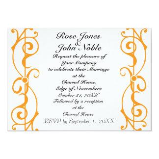 Invitación (anaranjada) de marfil del boda de la invitación 12,7 x 17,8 cm