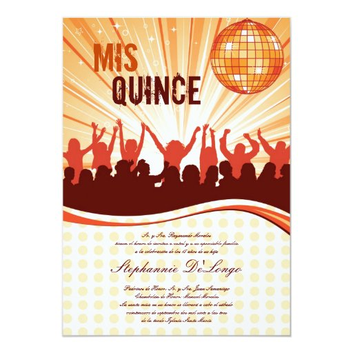 invitación anaranjada de Quinceanera del baile 5x7
