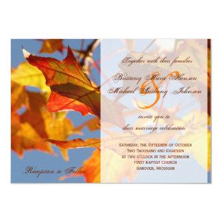 Invitación anaranjada del boda de la caída de las