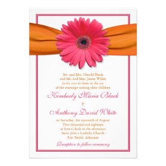 Invitación anaranjada del boda de la cinta de la m
