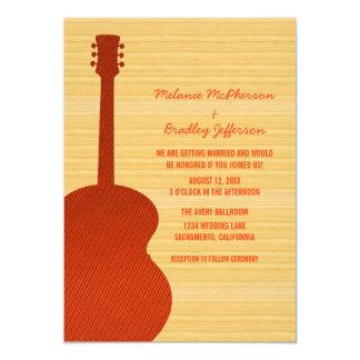 Invitación anaranjada del boda de la guitarra del