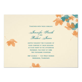 Invitación anaranjada del boda de la hoja de arce