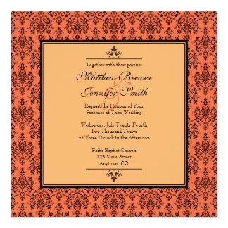 Invitación anaranjada del boda de la mandarina con