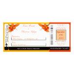 Invitación anaranjada del boda del documento de em