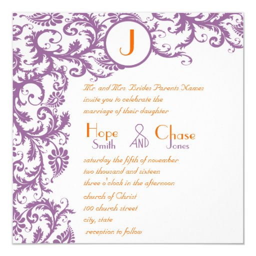 Invitación anaranjada del boda del monograma del