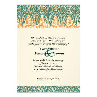 Invitación anaranjada del boda del trullo del