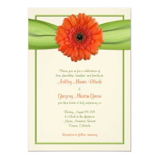 Invitación anaranjada del boda del verde de la
