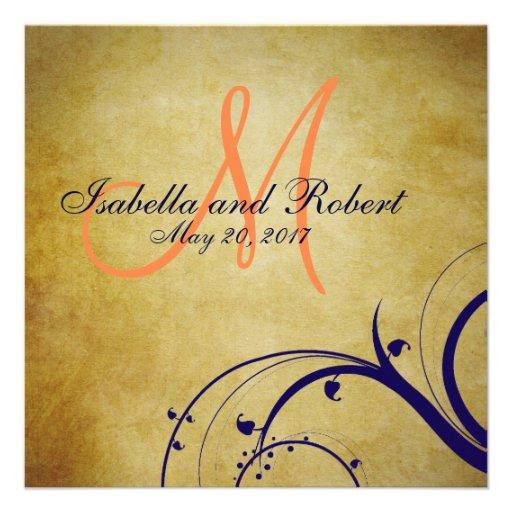 Invitación anaranjada del boda del vintage de los