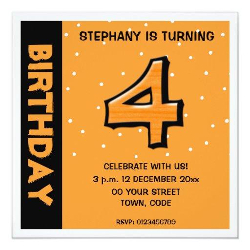 Invitación anaranjada del cumpleaños de los puntos