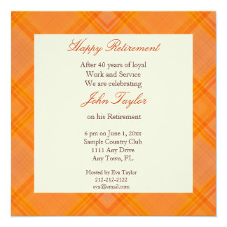Invitación anaranjada del fiesta de retiro de la