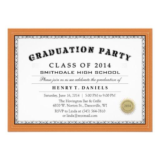 Invitación anaranjada del fiesta del graduado del