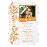 Invitación anaranjada elegante de la fiesta de gra
