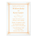 Invitación anaranjada media de encargo - diseño de invitación 12,7 x 17,8 cm