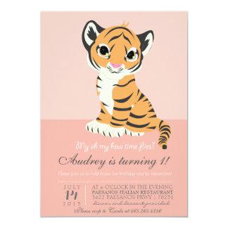 Invitación anaranjada moderna del rosa del tigre