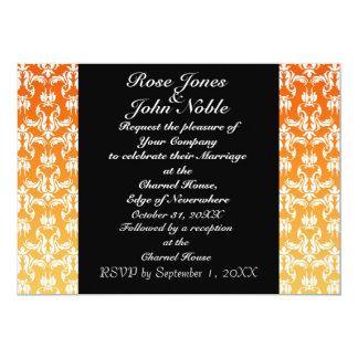 Invitación (anaranjada) negra azul del boda
