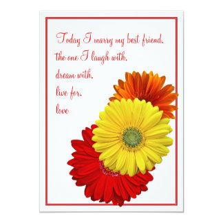 Invitación anaranjada roja amarilla del boda de la invitación 12,7 x 17,8 cm