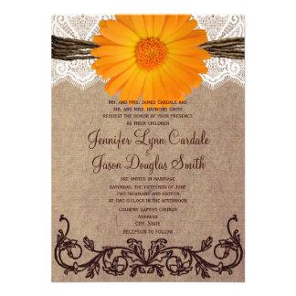 Invitación anaranjada rústica del boda del cordón